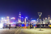 View of Victoria Harbour in Hong Kong from Kowloon waterfront — Stock Photo