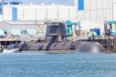Submarine in a naval shipyard — Stock Photo