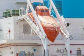 Totally enclosed freefall lifeboat on a downward sloping slipway — Stock Photo