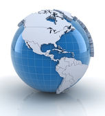 Globe with extruded continents, north and south america regions — Stock Photo