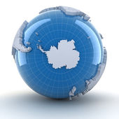 Globe with Antarctica, 3d render — Stock Photo