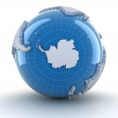 Globe with Antarctica, 3d render — Stockfoto