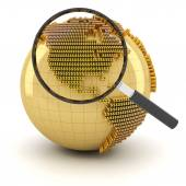 Globe with magnifying glass, economy outlook concept — Stock Photo