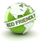 Eco friendly symbol with globe, 3d render — Stock Photo