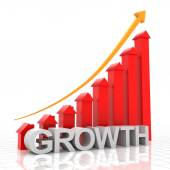 Real estate growth chart, 3d render — Stock Photo