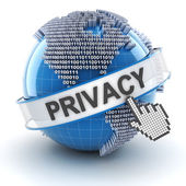 Privacy symbol with digital globe, 3d render — Stock Photo