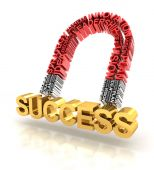Magnet formed by business words attracting success — Stock Photo