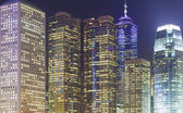 Close-up of modern skylines at night — Stock Photo