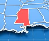 3d render of USA map with Mississippi state highlighted — Stock Photo