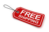 Free shipping tag, 3d render — Stock Photo