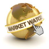 Market watch symbol with golden globe and hand cursor — Stock Photo