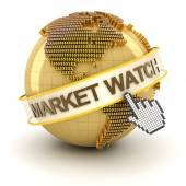Market watch symbol with golden globe and hand cursor — Fotografia Stock