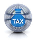 Tax icon on globe formed — Stock Photo