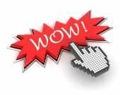 Hand clicking a wow button — Stock Photo