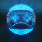 Gaming icon on globe formed by binary code — Stock Photo