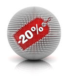 20 percent off sale tag on a sphere — Stock Photo