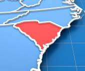 3d render of USA map with South Carolina state highlighted — Foto de Stock