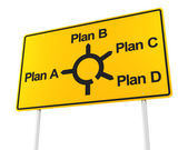 Road sign with options for different plans — Stock Photo
