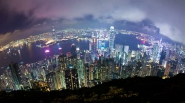 Timelapse video of Hong Kong at night, fisheye view — Stock Video