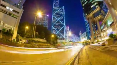 Hyperlapse video of a busy street in Admiralty in Hong Kong — Stock Video