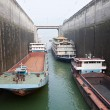Ships rising in the lock at Three Gorges Dam — Stock Photo #65492045