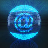 At sign on globe formed by binary code — Stock Photo
