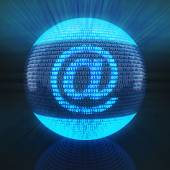 At sign on globe formed by binary code — Stockfoto