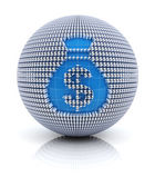 Money bag icon on globe formed by dollar sign, 3d render — Stock Photo