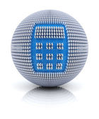 Calculator icon on globe formed by dollar sign, 3d render — Stock Photo