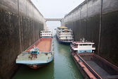 Ships rising in the lock at Three Gorges Dam — Stock Photo