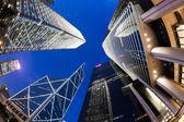 Fisheye view of skyscrapers in Hong Kong — Stock Photo