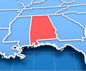 3d render of USA map with Alabama state highlighted — Stock Photo