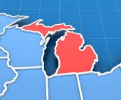 3d render of USA map with Michigan state highlighted — Stock Photo