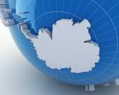 Globe with Antarctica, 3d render — Foto Stock