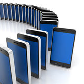 Group of generic smartphones with one standing out, 3d render — Stock Photo