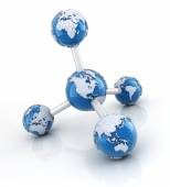 Molecule with globes — Stock Photo
