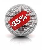 35 percent off sale tag on a sphere — Stock Photo