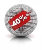 40 percent off sale tag on a sphere — Stock Photo