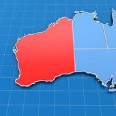 3d render of Western Australia map — Stock Photo