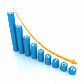Bar graph showing recession trend — Stock Photo