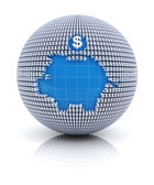 Savings icon on globe formed by dollar sign — Stock Photo