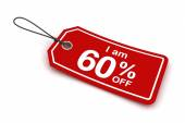 I am 60 percent off sale tag, 3d render — Stock Photo