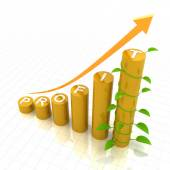 Profit growth chart with young plant, 3d render — Stock Photo