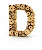 Alphabet D formed by gears — Stock Photo