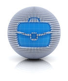 Business briefcase icon on globe formed by dollar sign — Stock Photo