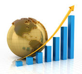Rising chart with golden globe — Stock Photo