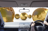 Driving in the money world — Stock Photo