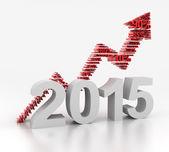 2015 upward arrow, 3d render — Stock Photo