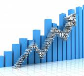 Growth chart with upward arrow formed by numbers — Stock Photo