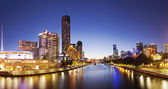 Panorama of downtown Melbourne at night — Stock Photo
